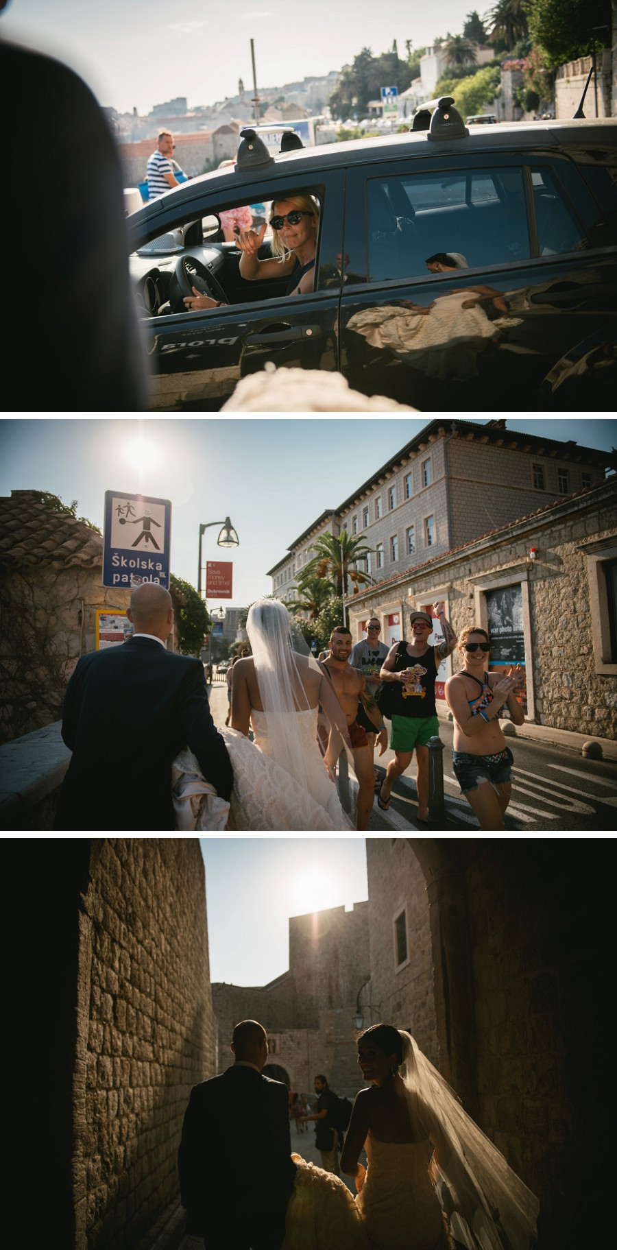 Bride and groom walking in the streets of Dubrovnik