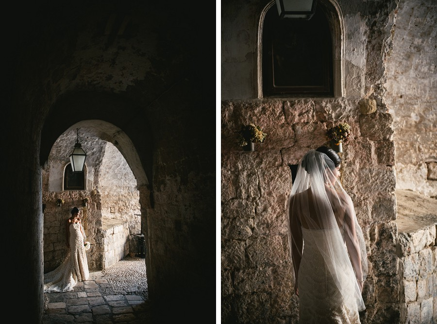 Bride getting photographed in the streets of Dubrovnik