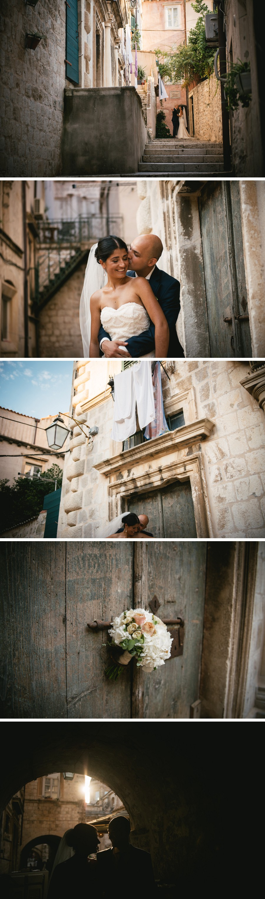 Bride and groom photography in the streets of Dubrovnik