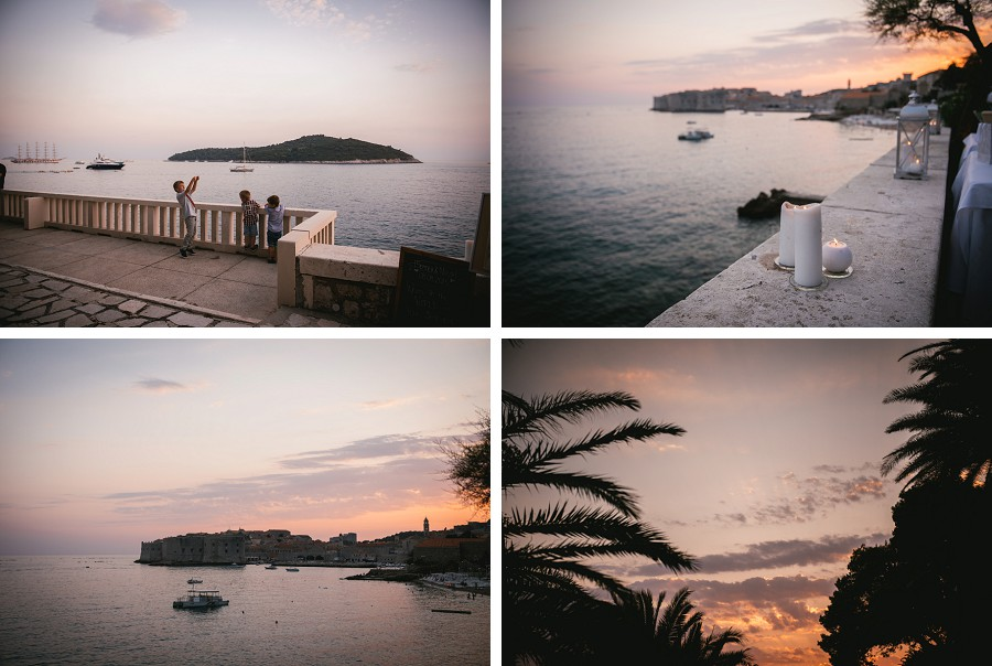 Sunset over Dubrovnik during a wedding