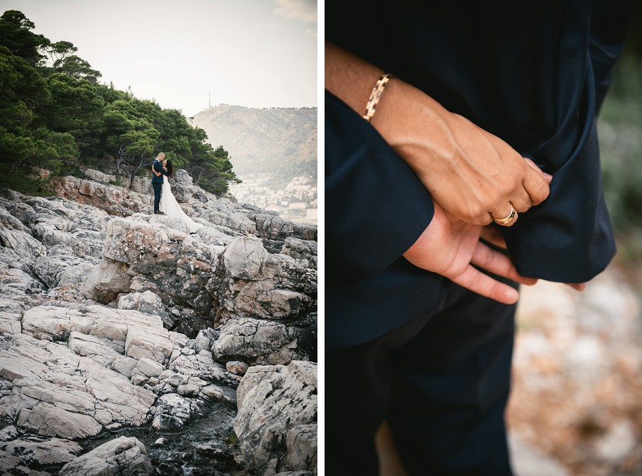 Wedding pictures on the rocks of Lokrum