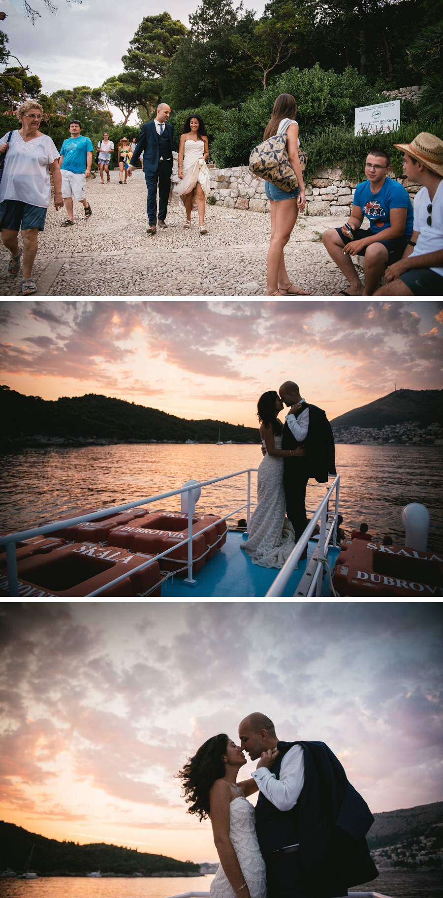 Wedding pictures on a boat at sunset