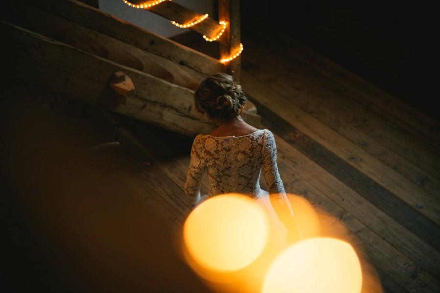 Bride near stairs