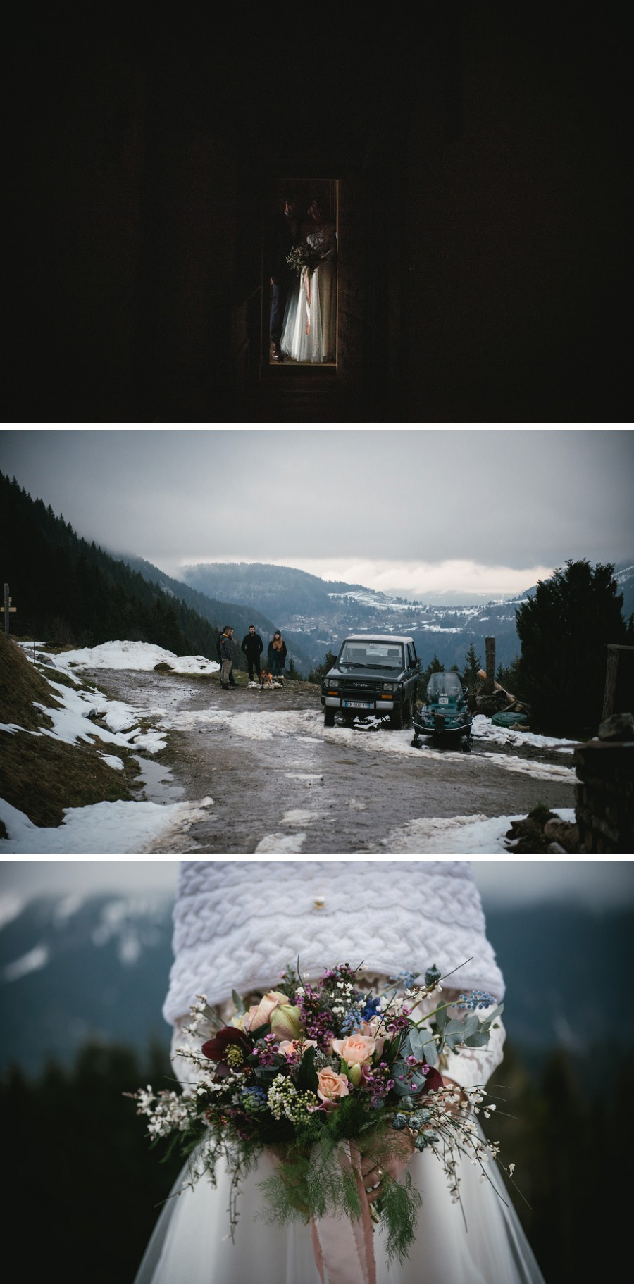 Wedding in the swiss alps during winter