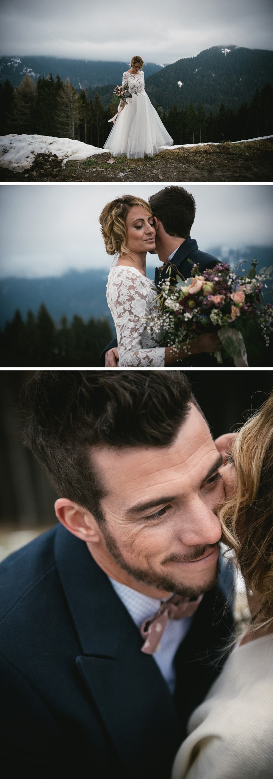 Bride and groom getting married on top of a mountain