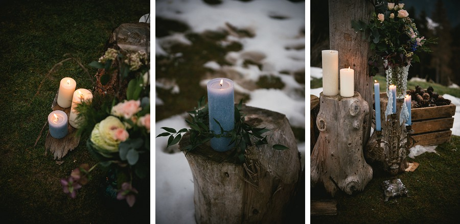 Organic altar details with candles