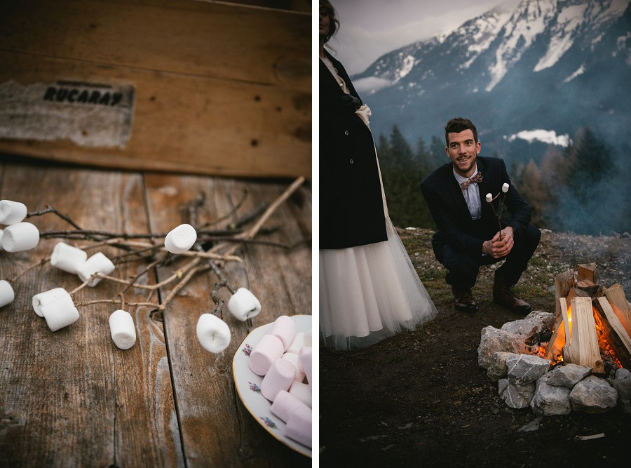 Marshmallow roasting during a winter wedding