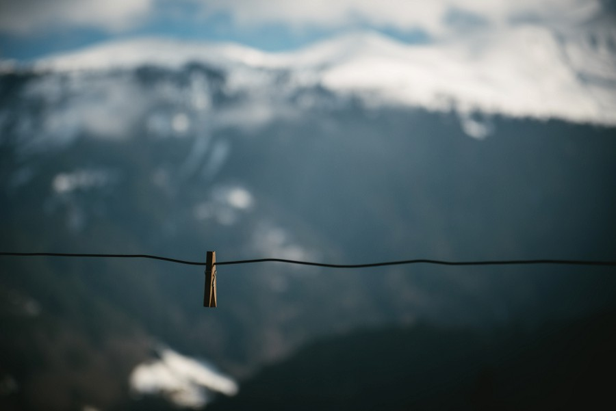 Hanging rope with the mountains