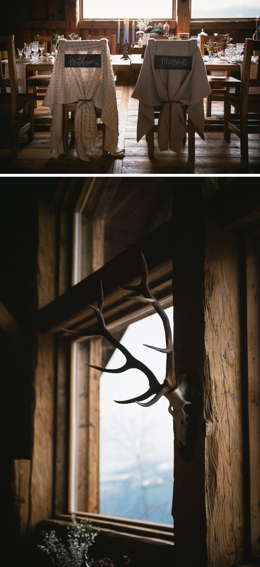 Wedding table details in a swiss chalet
