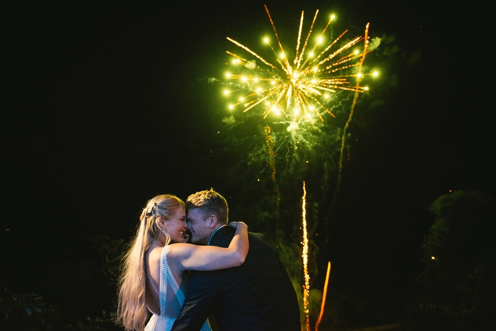 fireworks during a wedding at chateau de maulmont