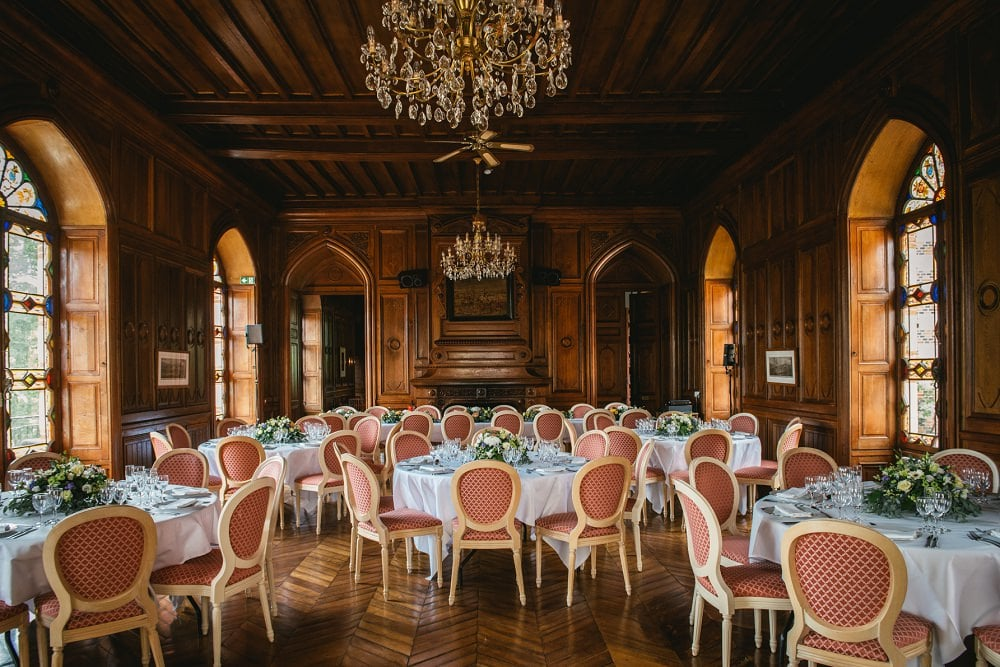 reception hall at the chateau de maulmont