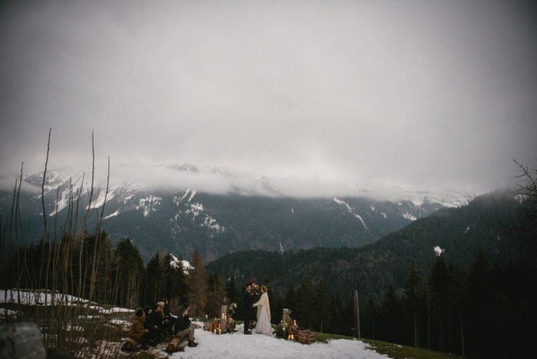 Imogen & Paul – An overnight mountain elopement near Switzerland