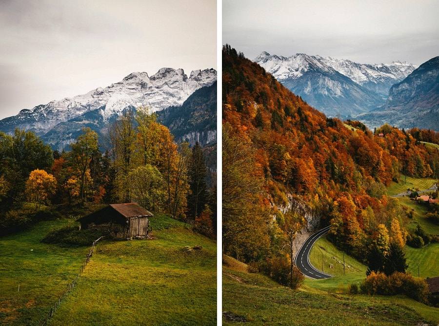 Fall foliages during an elopement in switzerland