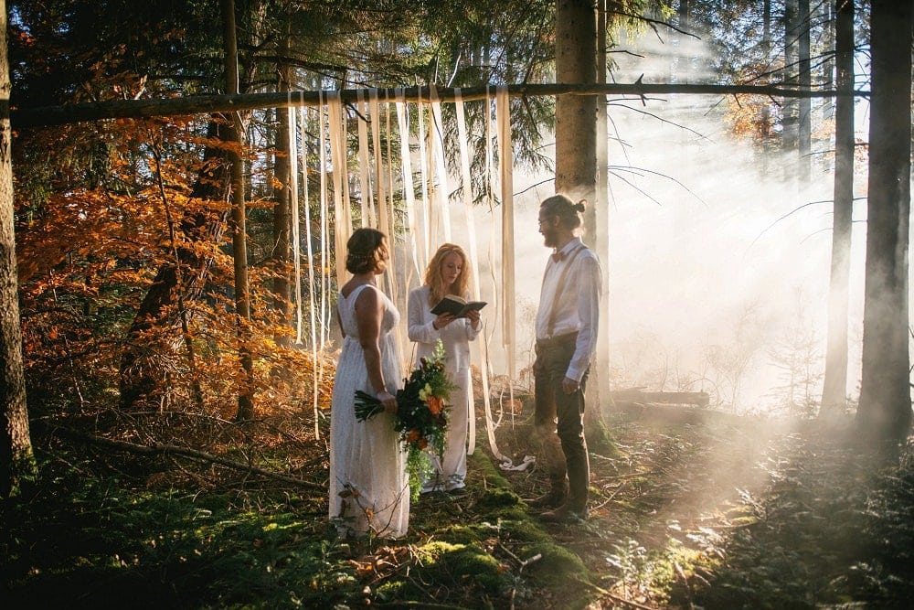adventure elopement in the forest by photographer zephyr & luna