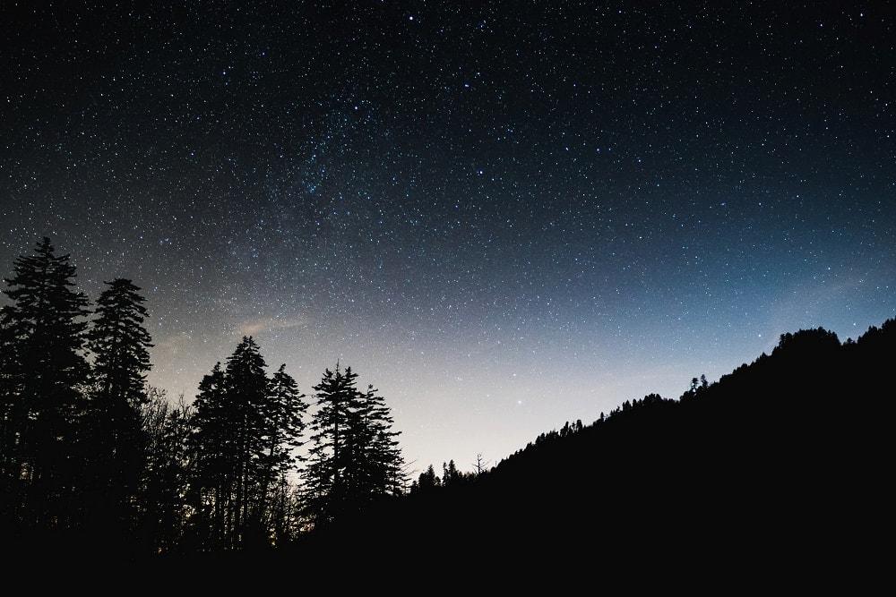 Stars-spilled sky for an elopement in Gatlinburg