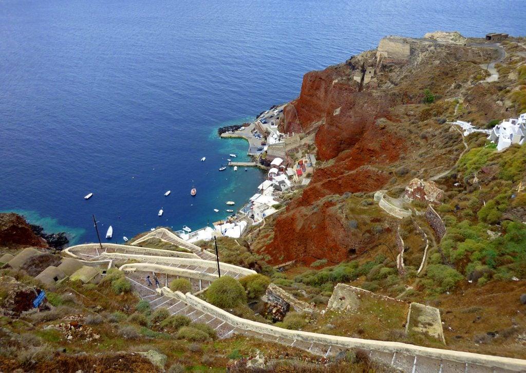 Where to elope in Santorini - Amoudi Bay