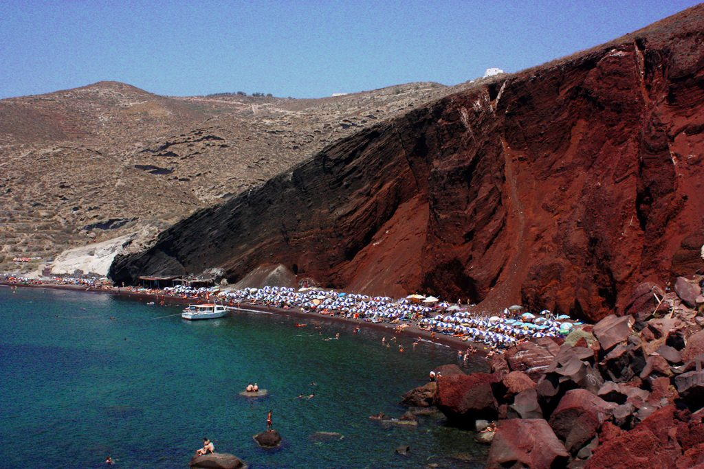 Where to elope in Santorini - Red Beach